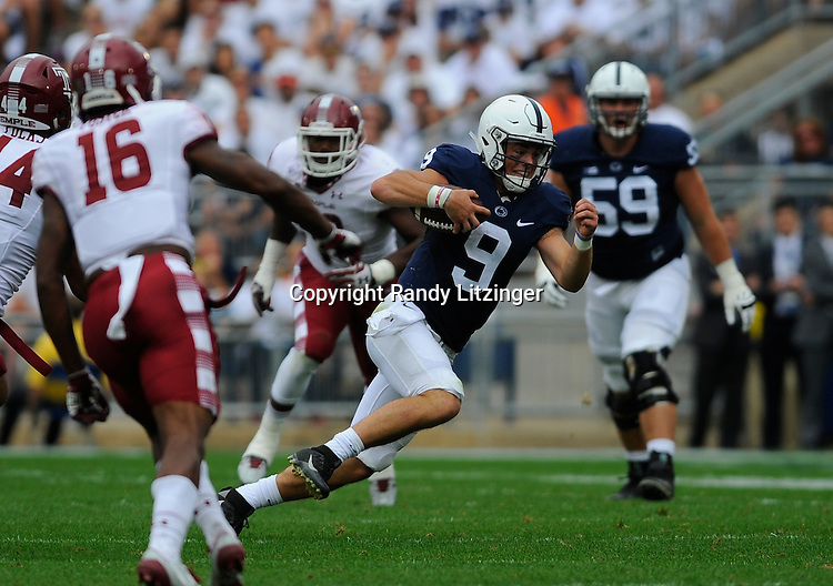 17 September 2016:  Penn State QB Trace McSorley (9) runs. The Penn State Nittany Lions defeated the Temple Owls 34-27 at Beaver Stadium in State College, PA. (Photo by Randy Litzinger/Icon Sportswire)