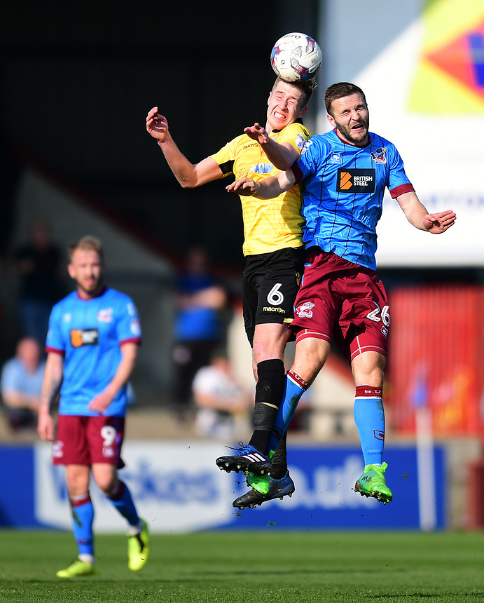 Bolton Wanderers' Josh Vela vies for possession with Scunthorpe United's Jamie Ness<br /> <br /> Photographer Chris Vaughan/CameraSport<br /> <br /> The EFL Sky Bet League One - Scunthorpe United v Bolton Wanderers - Saturday 8th April 2017 - Glanford Park - Scunthorpe<br /> <br /> World Copyright &copy; 2017 CameraSport. All rights reserved. 43 Linden Ave. Countesthorpe. Leicester. England. LE8 5PG - Tel: +44 (0) 116 277 4147 - admin@camerasport.com - www.camerasport.com