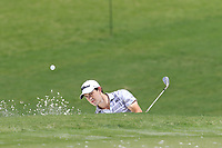 Patrick Cantlay (USA) chips from a bunker at the 1st green during Saturday's Round 3 of the 2017 PGA Championship held at Quail Hollow Golf Club, Charlotte, North Carolina, USA. 12th August 2017.<br /> Picture: Eoin Clarke | Golffile<br /> <br /> <br /> All photos usage must carry mandatory copyright credit (&copy; Golffile | Eoin Clarke)