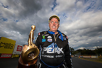Sep 18, 2016; Concord, NC, USA; NHRA funny car driver John Force celebrates after winning the Carolina Nationals at zMax Dragway. Mandatory Credit: Mark J. Rebilas-USA TODAY Sports