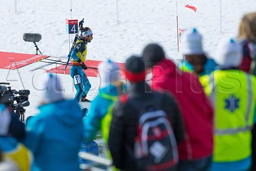 March 19th 2017, Oslo, Norway; BMW IBU World Cup Biathlon;  Martin Fourcade of France  participates in the men 15km mass start at the IBU World Cup Biathlon in Holmenkollen Oslo, Norway