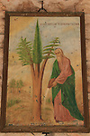 Israel, Jerusalem, a painting at the Greek Orthodox Monastery of the Holy Cross depicting Cypress, Pine and Fir grow into one tree