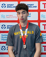 Picture by Allan McKenzie/SWpix.com - 05/08/2017 - Swimming - Swim England National Summer Meet 2017 - Ponds Forge International Sports Centre, Sheffield, England - Ali Cangir takes silver in the mens 16yrs 50m breaststroke.