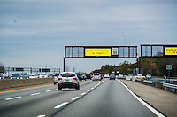 Highway state of Emergency sign warns travelers of pending hurricane Sandy, Route I-95, New Jersey, USA