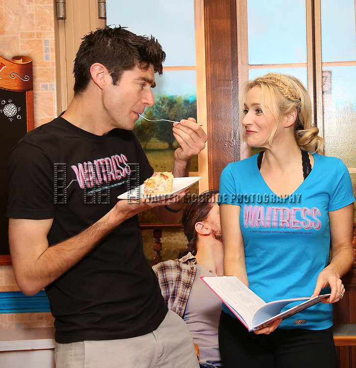 "Drew Gehling and Betsy Wolfe from the cast of ""Waitress"" celebrate 'Sugar, Butter, Flour: The Waitress Pie Cookbook at The Brooks Atkinson Theatre on June 27, 2017 in New York City."