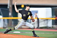 Bristol Pirates starting pitcher Travis MacGregor (16) delivers a pitch during a game against the Johnson City Cardinals at TVA Credit Union Ballpark on June 23, 2017 in Johnson City, Tennessee. The Pirates defeated the Cardinals 4-3. (Tony Farlow/Four Seam Images)