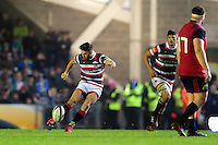 Owen Williams of Leicester Tigers kicks the match-winning score. European Rugby Champions Cup match, between Leicester Tigers and Munster Rugby on December 17, 2016 at Welford Road in Leicester, England. Photo by: Patrick Khachfe / JMP