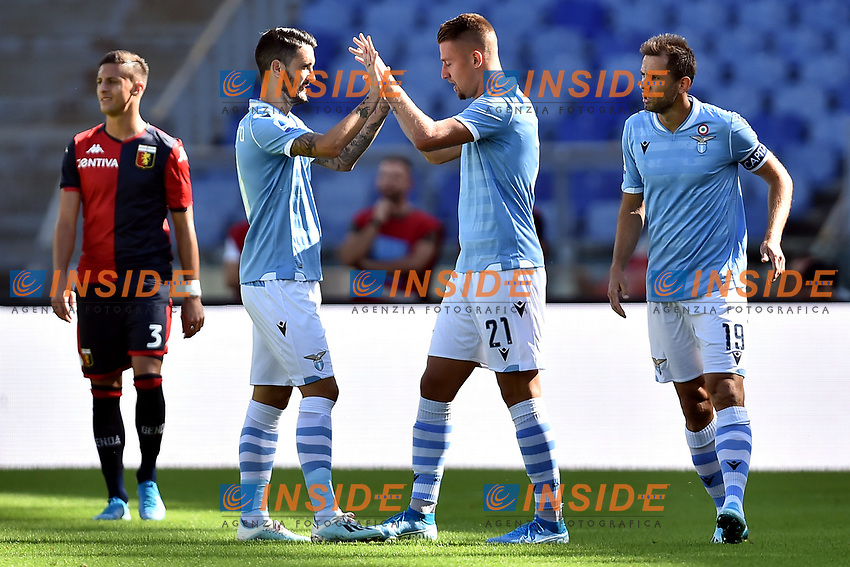 Sergej Milinkovic-Savic of SS Lazio celebrates with Luis Alberto after scoring the goal of 1-0 for his side <br /> Roma 29-9-2019 Stadio Olimpico <br /> Football Serie A 2019/2020 <br /> SS Lazio - Genoa CFC <br /> Foto Andrea Staccioli / Insidefoto
