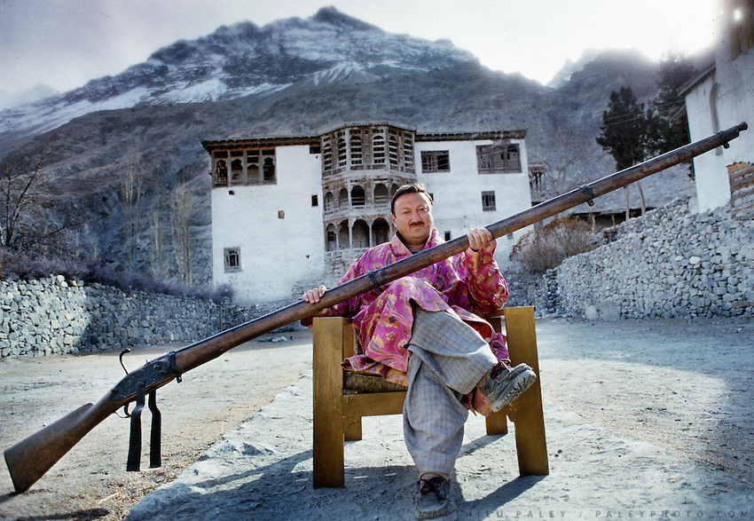 The son of the Raja shows off a traditional gun used for festive ceremony such as weddings, at Khaplu town, in Baltistan province, Karakoram mountains. Pakistan.