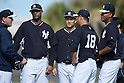 (2L-R) CC Sabathia, Masahiro Tanaka, Hiroki Kuroda, Ivan Nova (Yankees),<br /> FEBRUARY 15, 2014 - MLB :<br /> New York Yankees spring training camp in Tampa, Florida, United States. (Photo by AFLO)