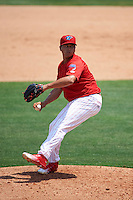 Clearwater Threshers relief pitcher Victor Arano (38) delivers a pitch during a game against the Charlotte Stone Crabs on April 13, 2016 at Bright House Field in Clearwater, Florida.  Charlotte defeated Clearwater 1-0.  (Mike Janes/Four Seam Images)