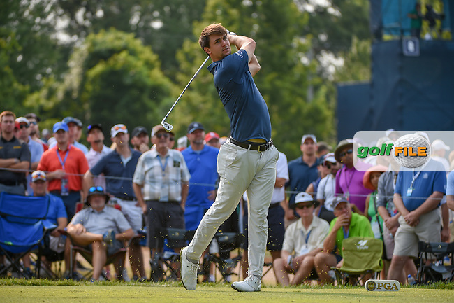 Ollie Schniederjans (USA) watches his tee shot on 6 during 4th round of the 100th PGA Championship at Bellerive Country Club, St. Louis, Missouri. 8/12/2018.<br /> Picture: Golffile | Ken Murray<br /> <br /> All photo usage must carry mandatory copyright credit (© Golffile | Ken Murray)