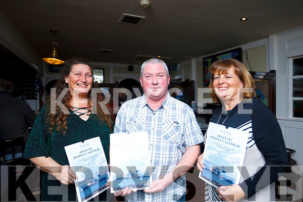 Local photographer James McCarty who did the photos for the Spa Fenit Hospice 2018 calendar with his wife Catherine and on his left is the PRO of the committee Mairead Moriarty at the launch last Friday night in the Tankard Bar, Fenit