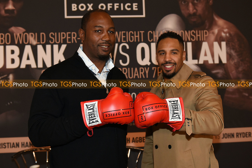 Lennox Lewis (L) and Andre Ward during a Poxon Sports Press Conference at the Apex Room on 2nd February 2017