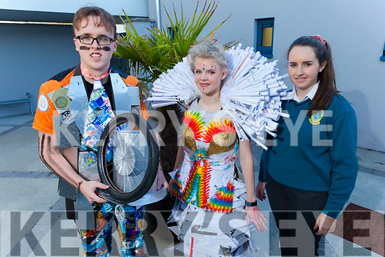 """Mercy Mounthawk students display their creations for this years Junk Kouture on Monday<br /> L to r: Hugh Emerson """"Venture Warrior"""" and Ellie Stack """"Less Stress more Dress"""" also in the photo is Ellie Sugrue """"Reincarnation""""."""