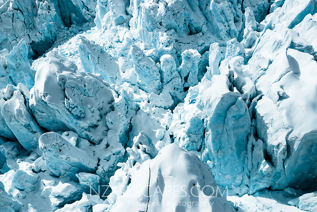 Colourful detail of huge seracs on Franz Josef Glacier, Westland Tai Poutini National Park, West Coast, UNESCO World Heritage Area, New Zealand, NZ