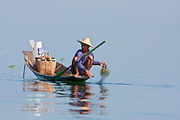 Myanmar, Burma.  Fisherman Laying out his Net, Inle Lake, Shan State.