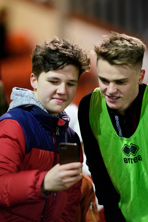Lincoln City's Jake Hesketh poses for a selfie during the pre-match warm-up<br /> <br /> Photographer Chris Vaughan/CameraSport<br /> <br /> The EFL Sky Bet League One - Lincoln City v Milton Keynes Dons - Tuesday 11th February 2020 - LNER Stadium - Lincoln<br /> <br /> World Copyright © 2020 CameraSport. All rights reserved. 43 Linden Ave. Countesthorpe. Leicester. England. LE8 5PG - Tel: +44 (0) 116 277 4147 - admin@camerasport.com - www.camerasport.com