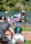 19 July 2018: Vermont Lake Monsters pitcher Abdiel Mendoza on the mound against the Staten Island Yankees at Centennial Field in Burlington, Vermont. The Lake Monsters walked off in the 9th inning with a 2-1 win over the Yankees in NY Penn League action. Mandatory Credit: Ed Wolfstein Photo *** RAW (NEF) Image File Available ***