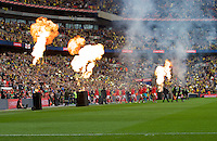 The teams are led out for the Johnstone's Paint Trophy FINAL match between Oxford United and Barnsley at Wembley Stadium, London, England on 3 April 2016. Photo by Alan  Stanford / PRiME Media Images.