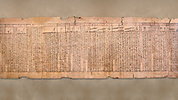 "Ancient Egyptian Book of the Dead papyrus - Spell 33 for keeping snakes away, Iufankh's Book of the Dead, Ptolomaic period (332-30BC).Turin Egyptian Museum<br /> <br /> the spell reads ' O Rerek! Move not! Behold Geb and Shu have risen against you, for you have eaten a mouse, the abomination of Re"" you have crunched the bones of a putrified cat""<br /> <br /> The translation of  Iuefankh's Book of the Dead papyrus by Richard Lepsius marked a truning point in the studies of ancient Egyptian funereal studies."