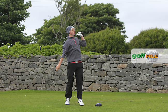 Cathal Hastings (Castlebar) on the 1st tee during R2 of the 2016 Connacht U18 Boys Open, played at Galway Golf Club, Galway, Galway, Ireland. 06/07/2016. <br /> Picture: Thos Caffrey | Golffile<br /> <br /> All photos usage must carry mandatory copyright credit   (&copy; Golffile | Thos Caffrey)