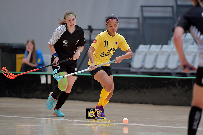 Malaysia's Nur Anis Amyzaa Binti Zakaria in action during the World Floorball Championships 2017 Qualification for Asia Oceania Region - New Zealand v Malaysia at ASB Sports Centre , Wellington, New Zealand on Saturday 4 February 2017.<br /> Photo by Masanori Udagawa<br /> www.photowellington.photoshelter.com.