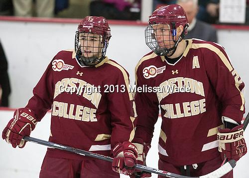 Johnny Gaudreau (BC - 13), Bill Arnold (BC - 24) - The visiting Boston College Eagles defeated the Harvard University Crimson 5-1 on Wednesday, November 20, 2013, at Bright-Landry Hockey Center in Cambridge, Massachusetts.