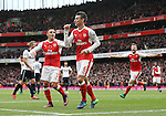 Arsenal's Laurent Koscielny celebrates his sides opening goal during the Premier League match at the Emirates Stadium, London. Picture date November 6th, 2016 Pic David Klein/Sportimage