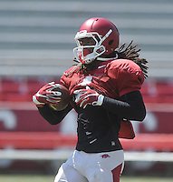 NWA Democrat-Gazette/MICHAEL WOODS &bull; @NWAMICHAELW<br /> University of Arkansas receiver Keon Hatcher runs drills during practice Saturday, August 15, 2015 at Razorback Stadium in Fayetteville.
