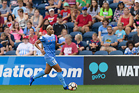 Bridgeview, IL - Sunday August 20, 2017: Samantha Johnson during a regular season National Women's Soccer League (NWSL) match between the Chicago Red Stars and FC Kansas City at Toyota Park. KC Kansas City won 3-1.