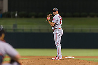 AFL East relief pitcher Brett Hanewich (53), of the Mesa Solar Sox and Los Angeles Angels organization, gets ready to deliver a pitch during the Fall Stars game at Surprise Stadium on November 3, 2018 in Surprise, Arizona. The AFL West defeated the AFL East 7-6 . (Zachary Lucy/Four Seam Images)