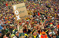 "Green Bay Packers fans bare sub-zero temperatures during the NFC Championship game at Lambeau against the Carolina Panthers on January 12, 1997 as the Pack cruised to a 30-13 win at Lambeau Field. This was the first title game in Green Bay since the ""Ice Bowl"" in 1967."
