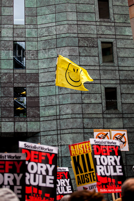 London, 20/06/2015. Today, tens of thousands of people (250,000 people for the organisers) marched in Central London to call for an immediate end to the Austerity measures and cuts imposed by the British Conservative Government. The demonstration organised by The People's Assembly Against Austerity started outside the Bank Of England and ended peacefully outside the Houses of Parliament.<br />   <br /> For more information please click here: http://www.thepeoplesassembly.org.uk/ &amp; http://on.fb.me/1FZHI8b