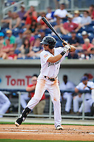 Pensacola Blue Wahoos second baseman Juan Perez (2) at bat during the second game of a double header against the Biloxi Shuckers on April 26, 2015 at Pensacola Bayfront Stadium in Pensacola, Florida.  Pensacola defeated Biloxi 2-1.  (Mike Janes/Four Seam Images)