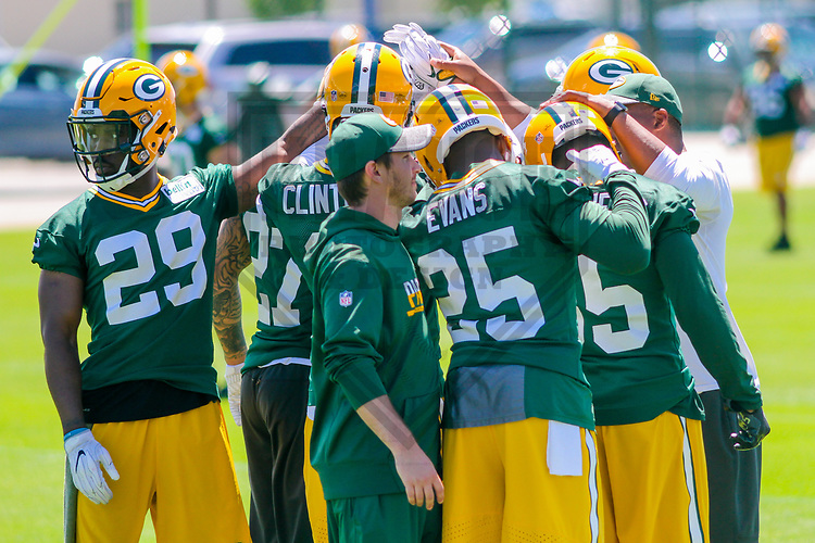 Green Bay Packers defensive backs huddle up during a minicamp practice on June 15, 2017 at Clarke Hinkle Field in Green Bay, Wisconsin.  (Brad Krause/Krause Sports Photography)