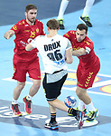 13.01.2018., Croatia, Arena Zagreb, Zagreb - European Handball Championship, Group C, Round 1, Germany - Montenegro. RADOJEVIC Igor, DRUX Paul <br /> <br /> Foto &copy; nordphoto / Sanjin Strukic/PIXSELL