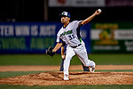 29 August 2019: Vermont Lake Monsters pitcher Jorge Martinez on the mound against the Connecticut Tigers at Centennial Field in Burlington, Vermont. The Lake Monsters fell to the Tigers 6-2 in the first game of their NY Penn League double-header.  Mandatory Credit: Ed Wolfstein Photo *** RAW (NEF) Image File Available ***