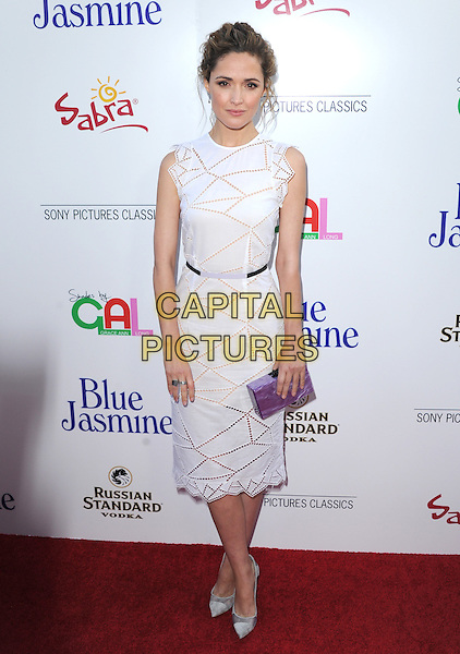 Rose Byrne<br /> 'Blue Jasmine'  L.A. premiere at The Academy of Motion Pictures Arts and Sciences in Beverly Hills, California, USA.<br /> 24th July 2013 <br /> full length white sleeveless  dress purple clutch bag perforated <br /> CAP/DVS<br /> &copy;DVS/Capital Pictures