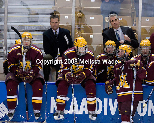 Mike Hoeffel (Minnesota - 11), Don Lucia (Minnesota - Head Coach), Mike Carman (Minnesota - 16), Mike Howe (Minnesota - 24), Evan Kaufmann (Minnesota - 19), Ryan Flynn (Minnesota - 22) - The Boston College Eagles defeated the University of Minnesota Golden Gophers 5-2 on Saturday, March 29, 2008, in the NCAA Northeast Regional Semi-Final at the DCU Center in Worcester, Massachusetts.