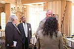 Thomas Suddes, E.W. Scripps School of Journalism Statehouse News Bureau fellowships co-ordinator and assistant professor, chats with Ohio University President Roderick McDavis following the Ohio University State Government Alumni Luncheon on Tuesday, May 5, 2015.  Photo by Ohio University  /  Rob Hardin