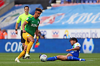 Preston North End's Callum Robinson rides the challenge of Wigan Athletic's Reece James<br /> <br /> Photographer David Shipman/CameraSport<br /> <br /> The EFL Sky Bet Championship - Wigan Athletic v Preston North End - Monday 22nd April 2019 - DW Stadium - Wigan<br /> <br /> World Copyright © 2019 CameraSport. All rights reserved. 43 Linden Ave. Countesthorpe. Leicester. England. LE8 5PG - Tel: +44 (0) 116 277 4147 - admin@camerasport.com - www.camerasport.com