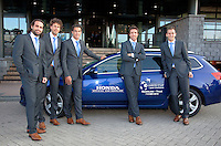 05-05-10, Zoetermeer, SilverDome, Tennis,  Davis Cup, Netherlands-Italy, Dutch team with official car, l.t.r.: Raemon Sluiter, Robin Haase, Jesse Huta Galung, Igor Sijsling and Thiemo de Bakker