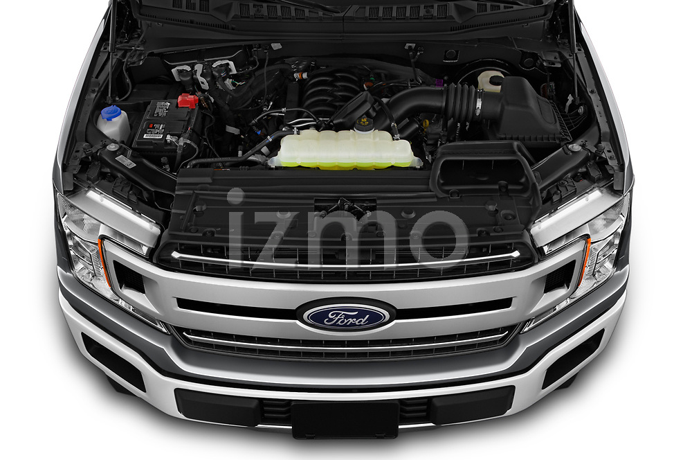 Car stock 2020 Ford F-150 XLT 4 Door Pick Up engine high angle detail view