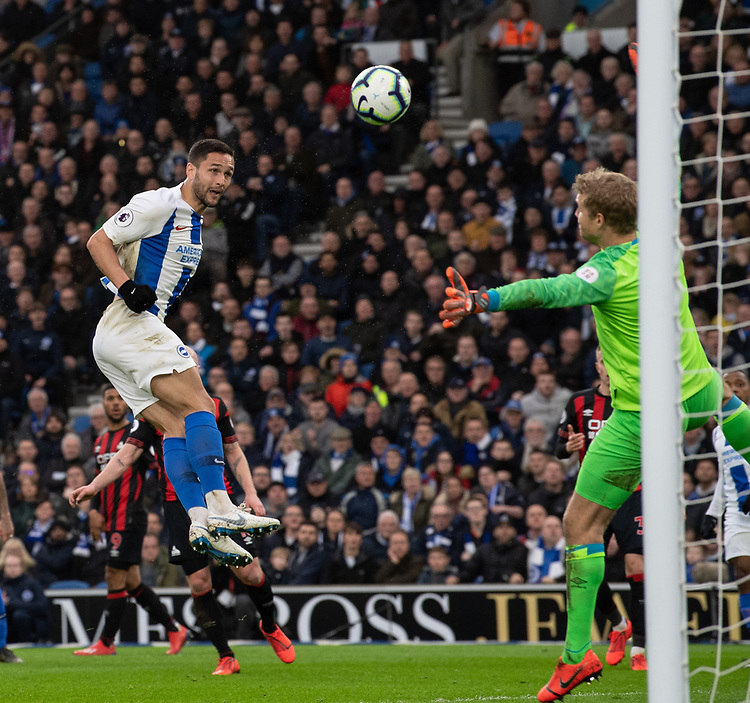Brighton & Hove Albion's Florin Andone scores his side's first goal  <br /> <br /> Photographer David Horton/CameraSport<br /> <br /> The Premier League - Brighton and Hove Albion v Huddersfield Town - Saturday 2nd March 2019 - The Amex Stadium - Brighton<br /> <br /> World Copyright © 2019 CameraSport. All rights reserved. 43 Linden Ave. Countesthorpe. Leicester. England. LE8 5PG - Tel: +44 (0) 116 277 4147 - admin@camerasport.com - www.camerasport.com
