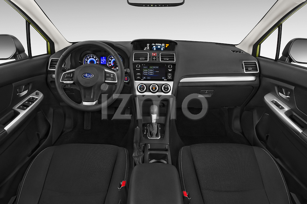 Stock photo of straight dashboard view of a 2015 Subaru XV Crosstrek Hybrid 5 Door SUV Dashboard