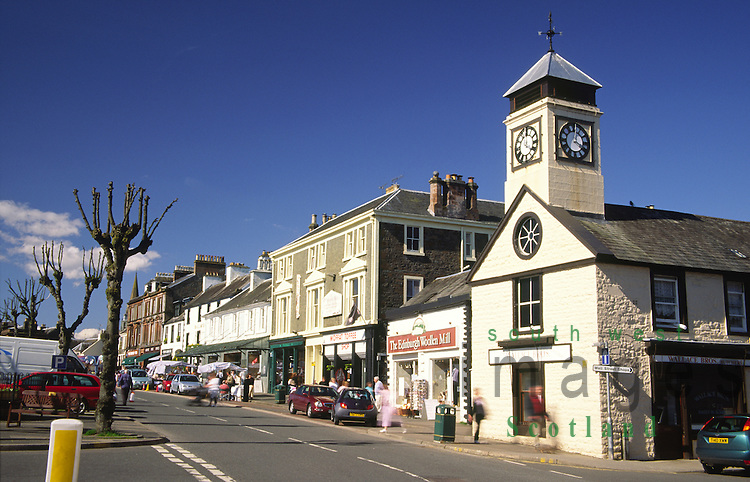 Moffat town centre shops and businesses on the High Street Scotland UK
