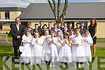 Pupils from Ms O'Brien's 2nd class in Holy Family who made their First Holy Communion on Saturday in St Brendan's Church, Tralee from front l-r: Megan O'Brien, Sadhbh Corr, Triona Moriarty Flynn, Ellie Flynn, Aimee Griffin, Amanda Porojan, Natalie Hennessy, Norella Quirke and Elise Mulumba..Back l-r were: Principal Ed O'Brien, Robert Vasiu, Jack Savage, Cianan Cooney, Ronan Ballard, Dylan Hurley, Joshua Connolly, James Charles, Cian Griffin, Dean Farrell, Tadgh McNamara, Aaron Day and teacher Aisling O'Brien.