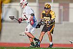 Palos Verdes, CA 03/31/10 - Lorenzo Nunziati (Peninsula # 25) and Jeff Shriver (PV # 13) in action during the Peninsula-Palos Verdes Junior Varsity Lacrosse game at Palos Verdes High School.  Palos Verdes defeated Peninsula.