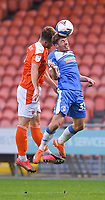 Blackpool's Jordan Thorniley battles with Barrow's Luke James<br /> <br /> Photographer Dave Howarth/CameraSport<br /> <br /> EFL Trophy Northern Section Group G - Blackpool v Barrow - Tuesday 8th September 2020 - Bloomfield Road - Blackpool<br />  <br /> World Copyright © 2020 CameraSport. All rights reserved. 43 Linden Ave. Countesthorpe. Leicester. England. LE8 5PG - Tel: +44 (0) 116 277 4147 - admin@camerasport.com - www.camerasport.com